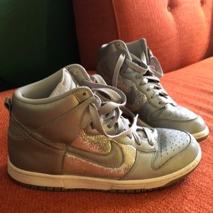 Nike Dunk High Glitter Metallic Women's Shoes Sz10
